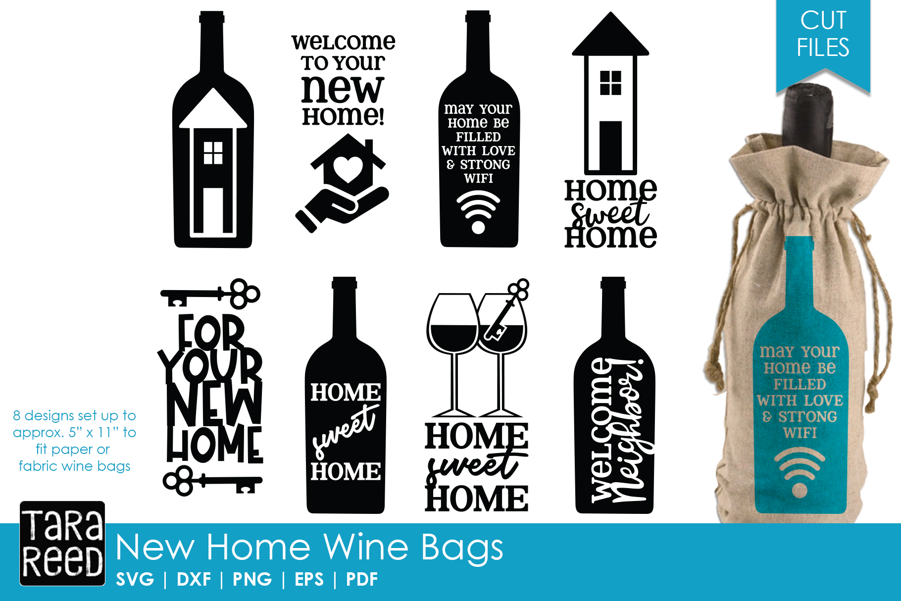 New Home Gift Wine Bags - SVG or Cut Files for Crafters example image 1