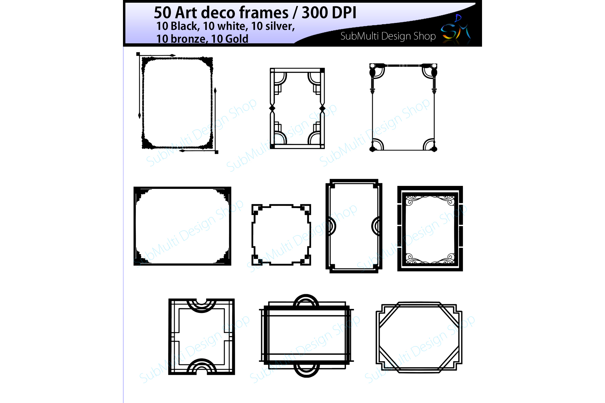 art deco frames / art deco frames clipart / art deco frames silhouette / art deco gold frames / art deco silver frame / digital/High Quality example image 1