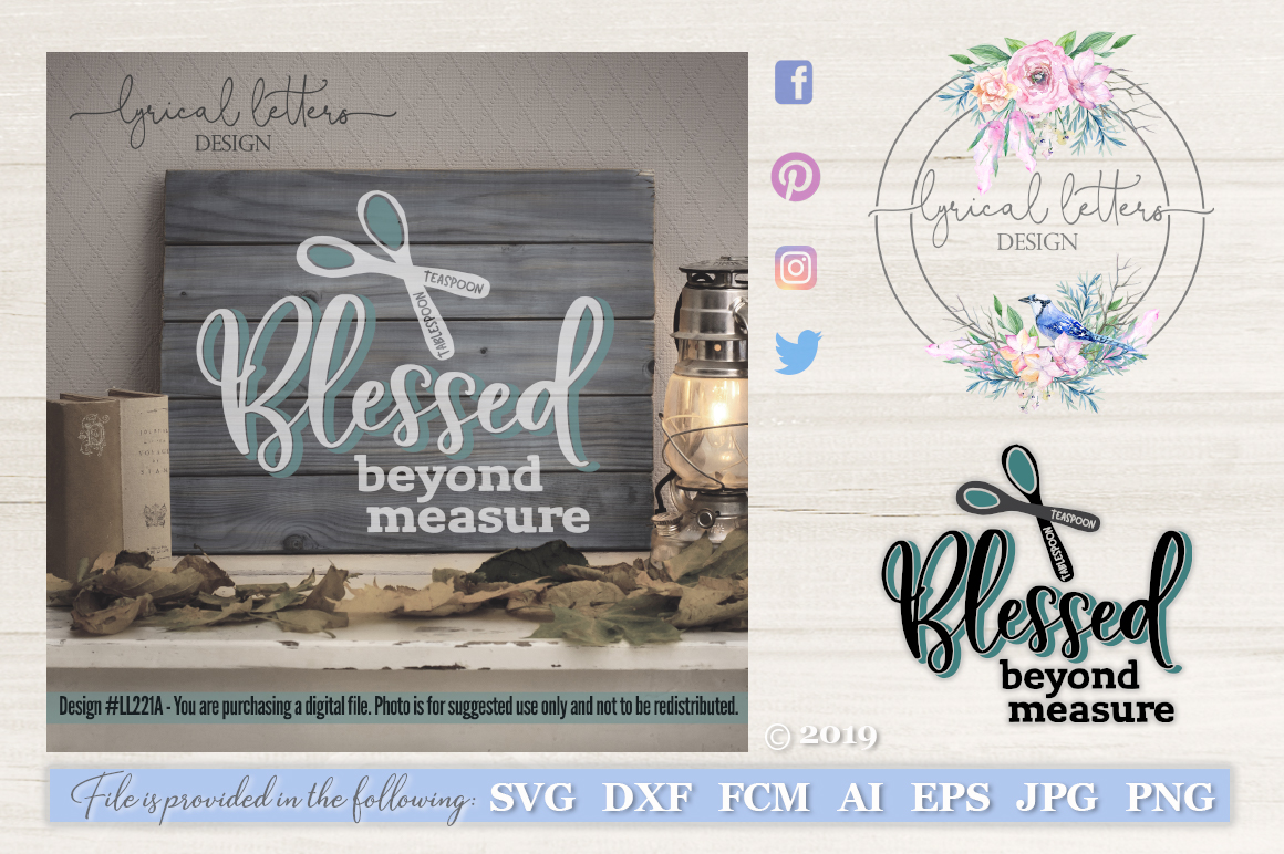 Blessed Beyond Measure Farmhouse SVG Cut File LL221A example image 1