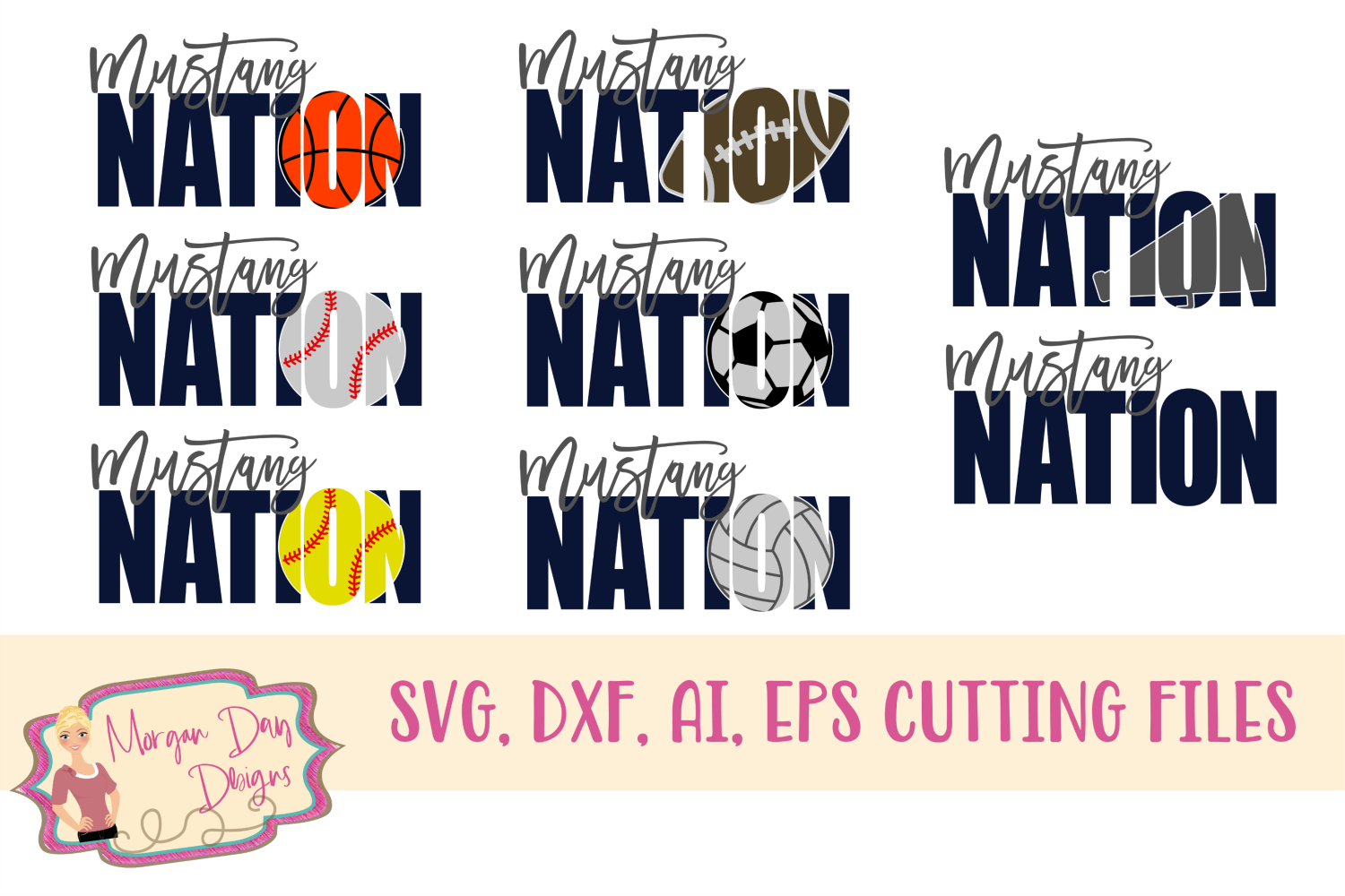 Mustang Nation SVG, DXF, AI, EPS example image 1