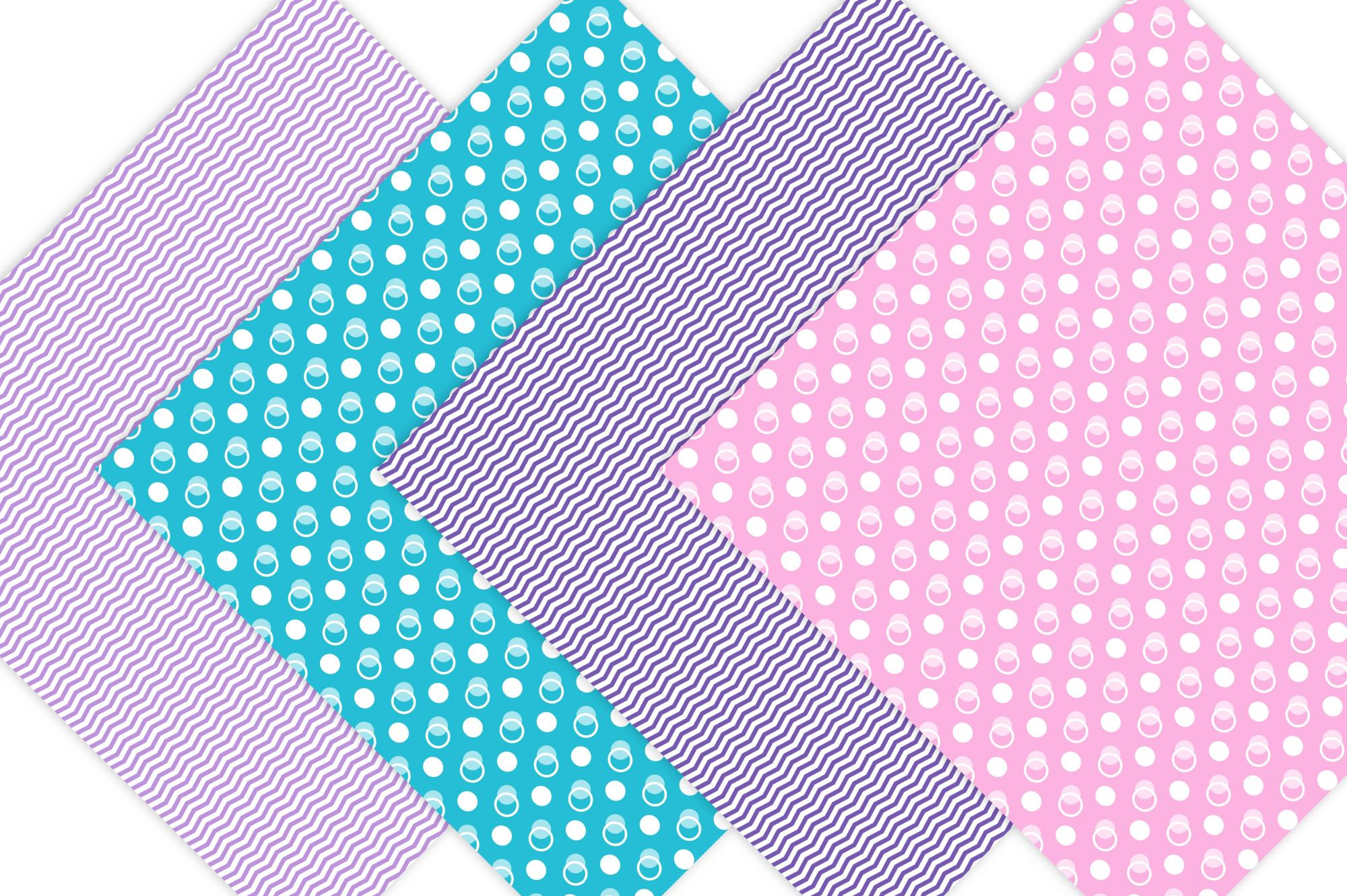 Dots and Chevron Digital Paper Pack example image 2