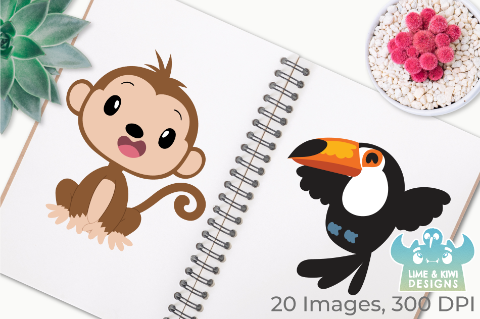 Jungle Animals Clipart, Instant Download Vector Art example image 3