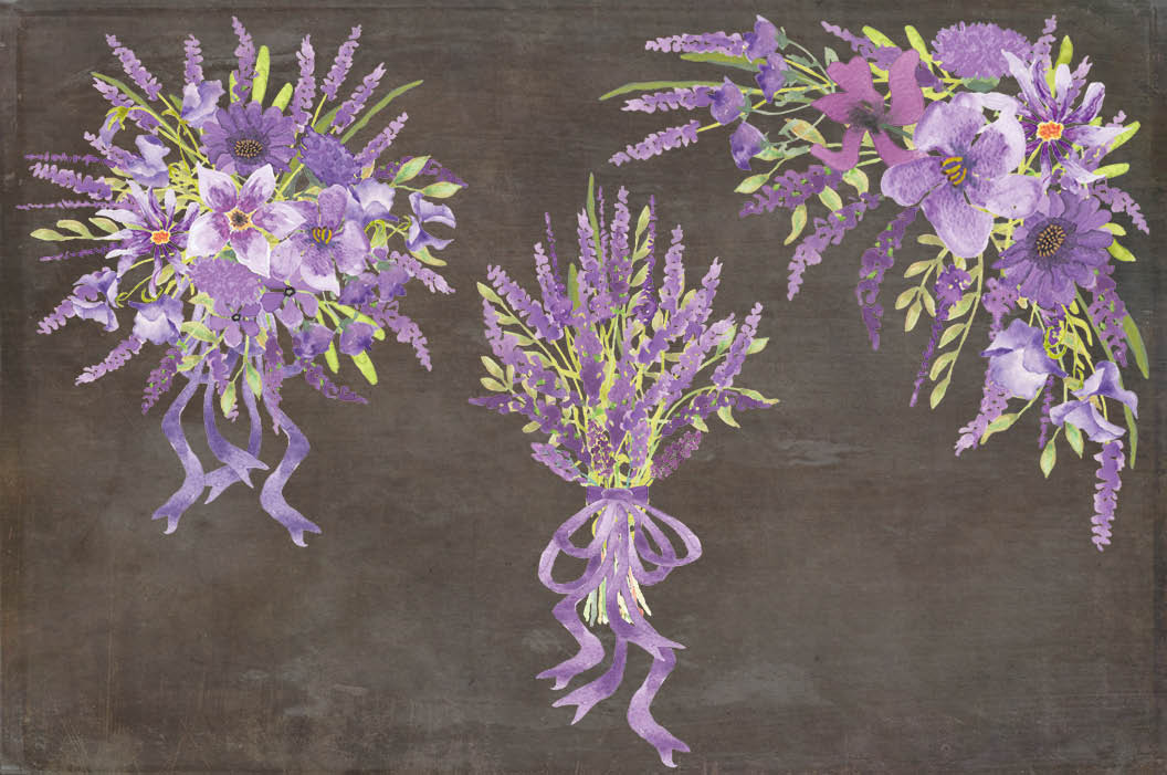 Watercolor clip art bundle in Lavender example image 4