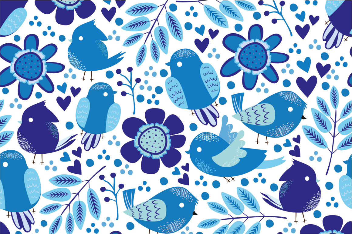 Seamless patterns with birds example image 7