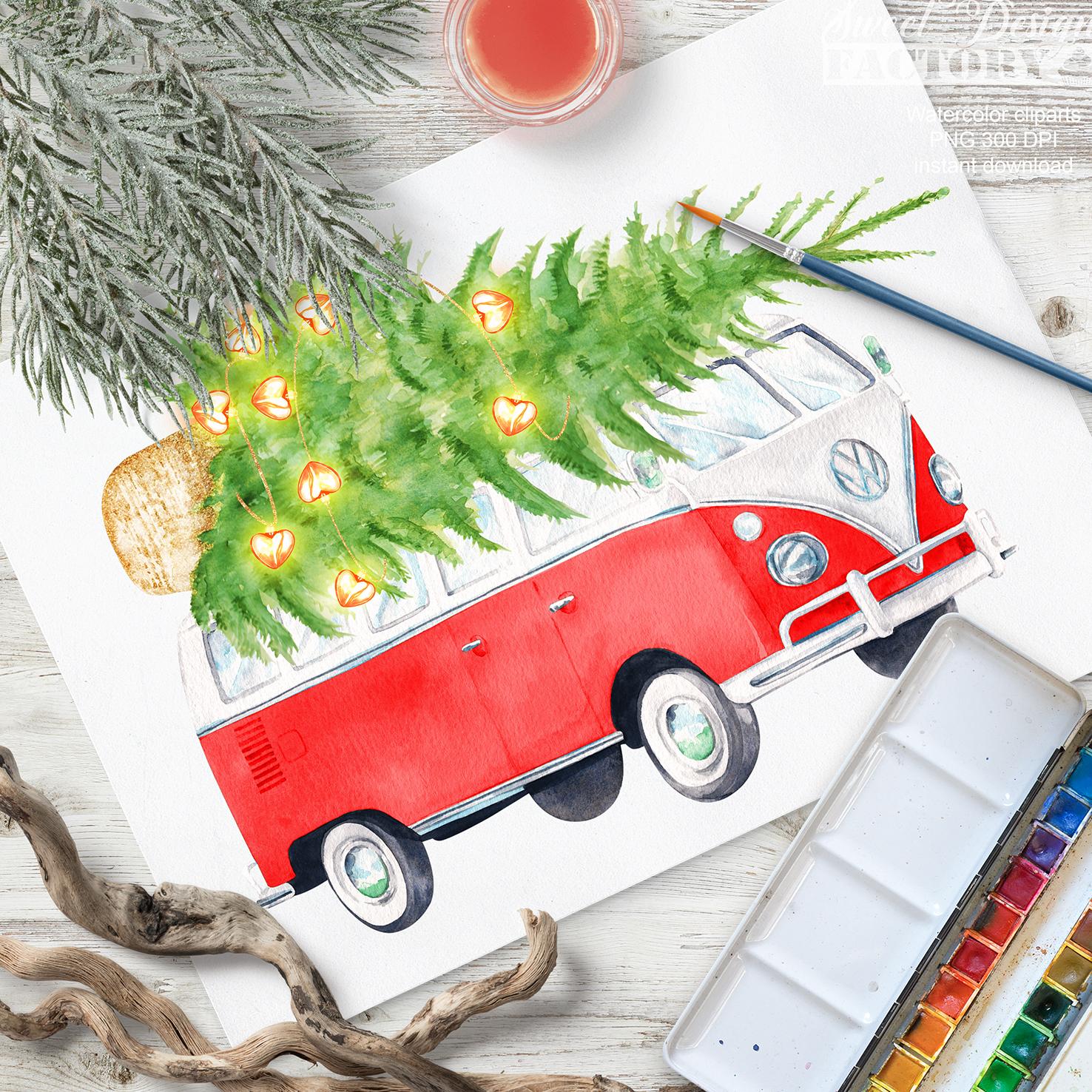 Christmas retro van cliparts. example image 5