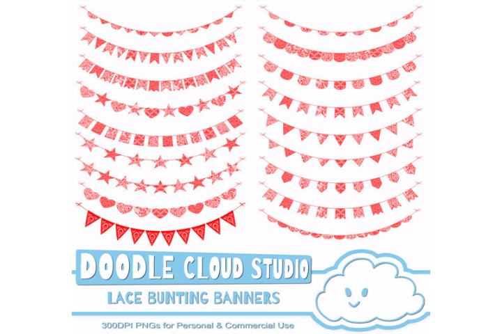 Red Lace Burlap Bunting Banners Cliparts, multiple lace texture flags, Transparent Background, Instant Download, Personal & Commercial Use example image 3