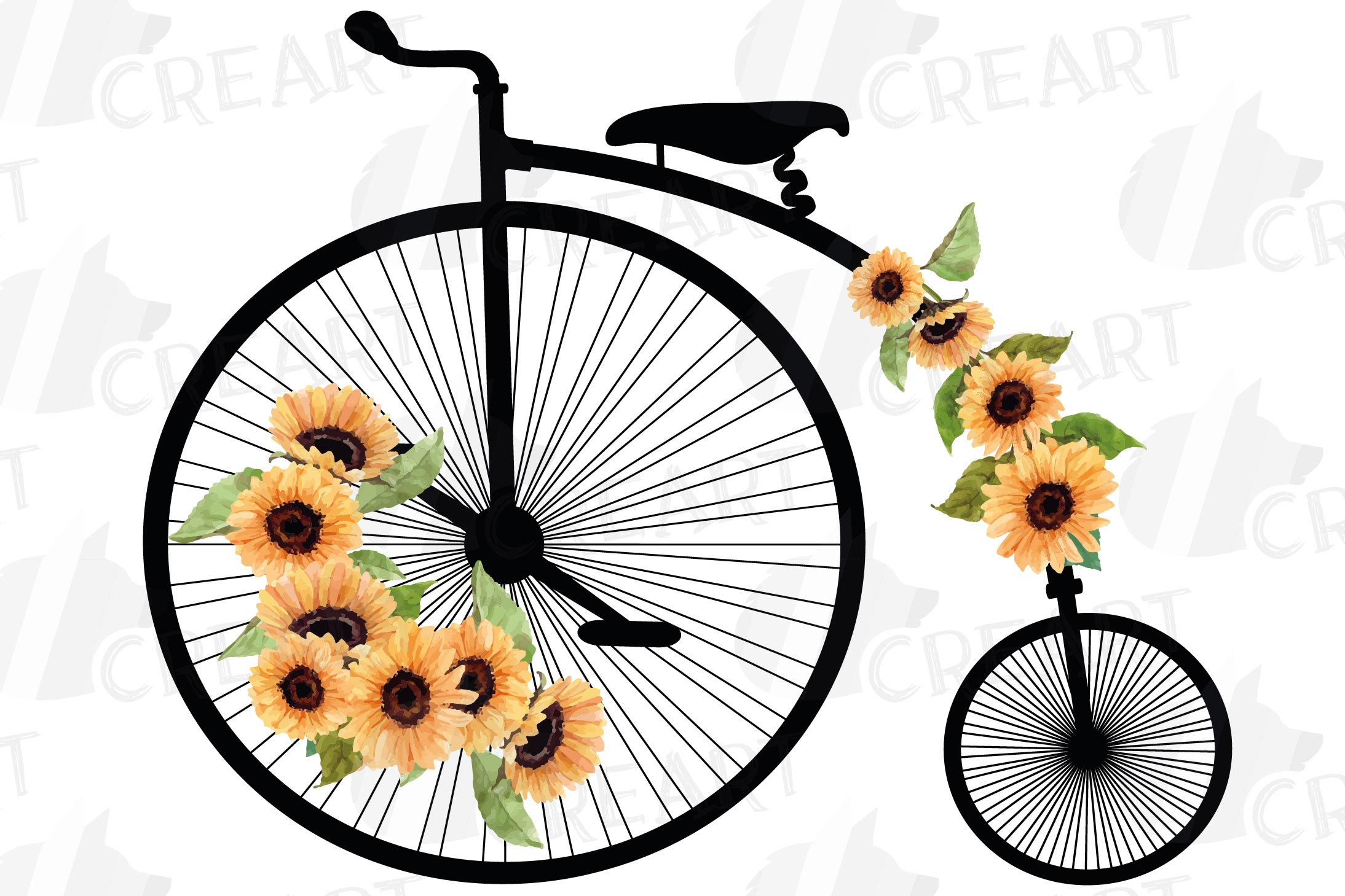 Sunflower bouquets high wheelers clip art. Floral bicycles example image 9