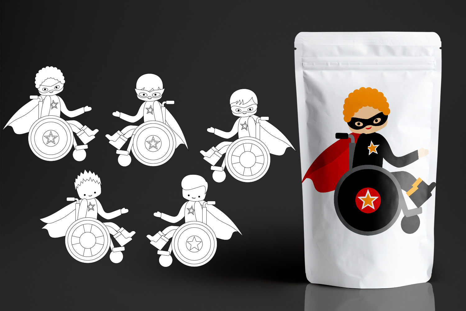 Superhero kids in wheelchairs - Disability Graphics Bundle example image 3