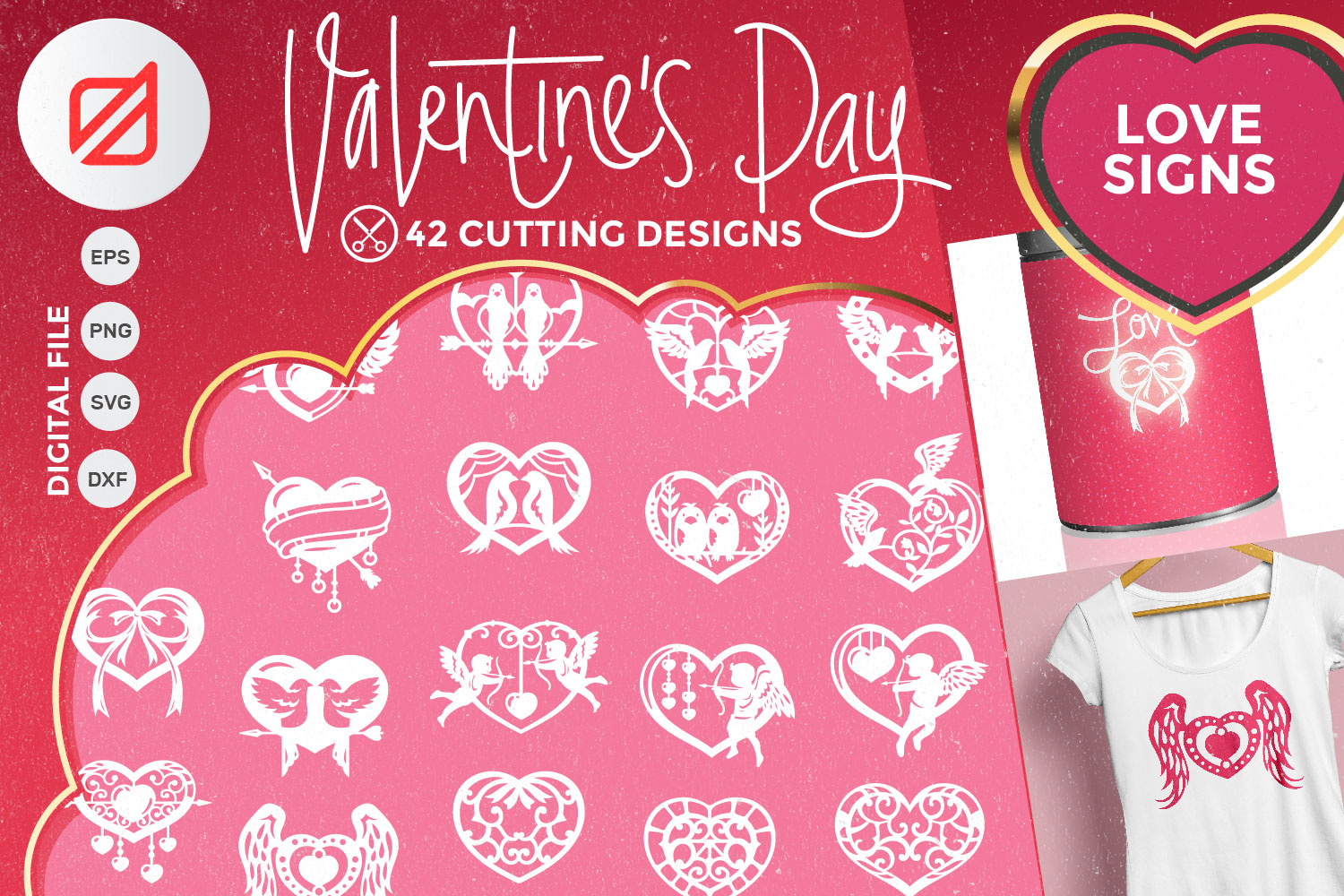 Valentine's Day Love Signs Cutting File SVG example image 1