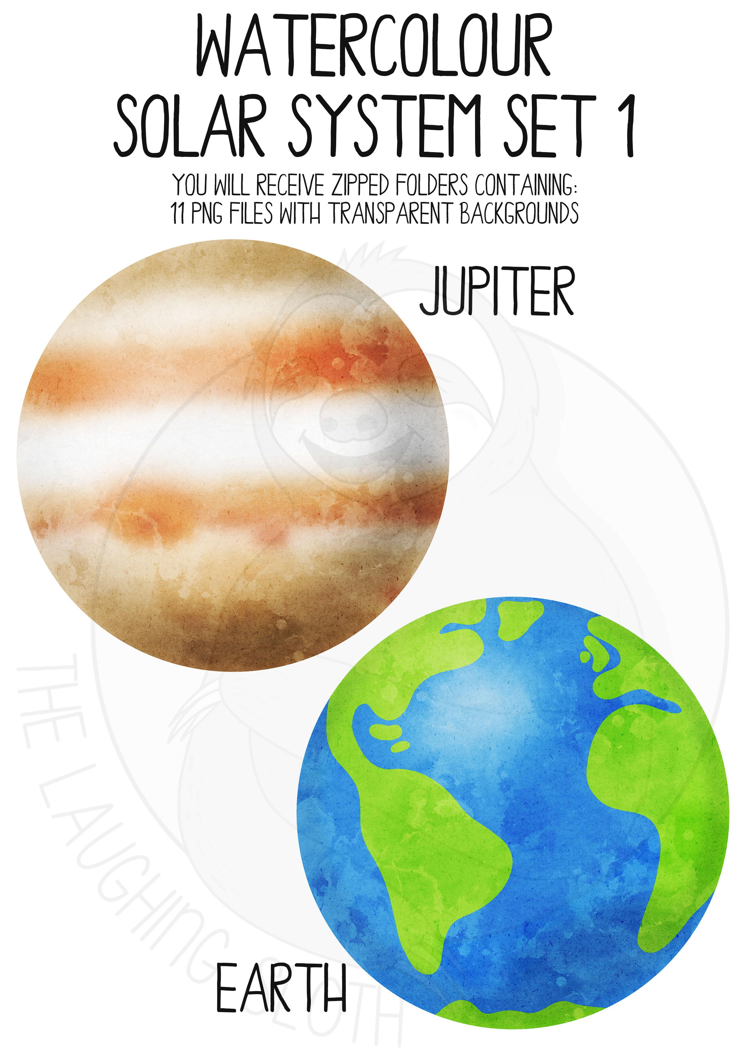 Watercolor Solar System Clip Art Set example image 2