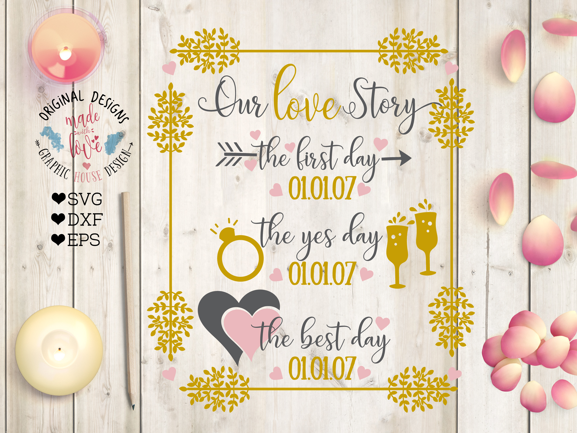 Our Love Story Cut File - Wedding Marriage Cut File example image 1