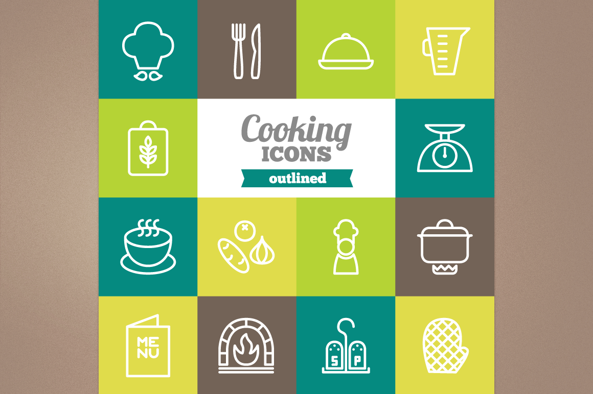 Outlined Cooking Icons example image 1