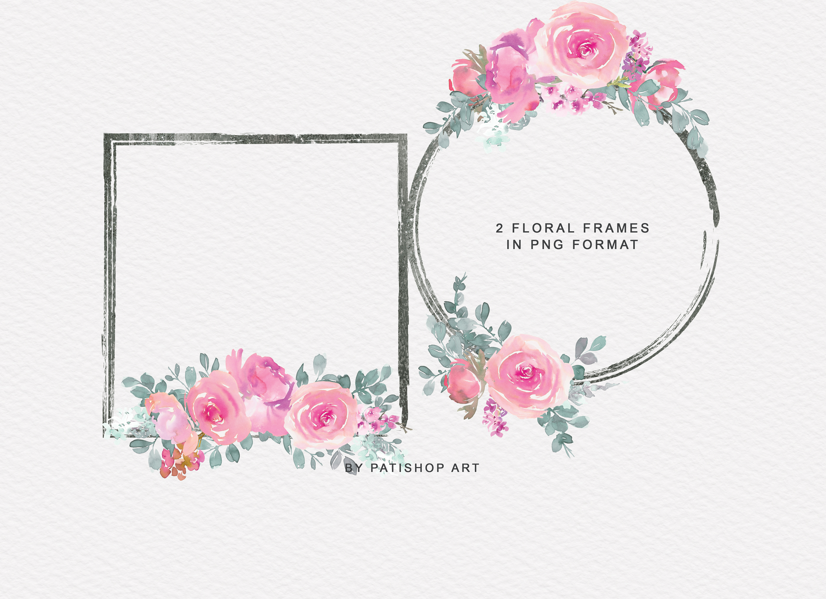 Pink and Turquoise Watercolor Floral Clipart Collection example image 6