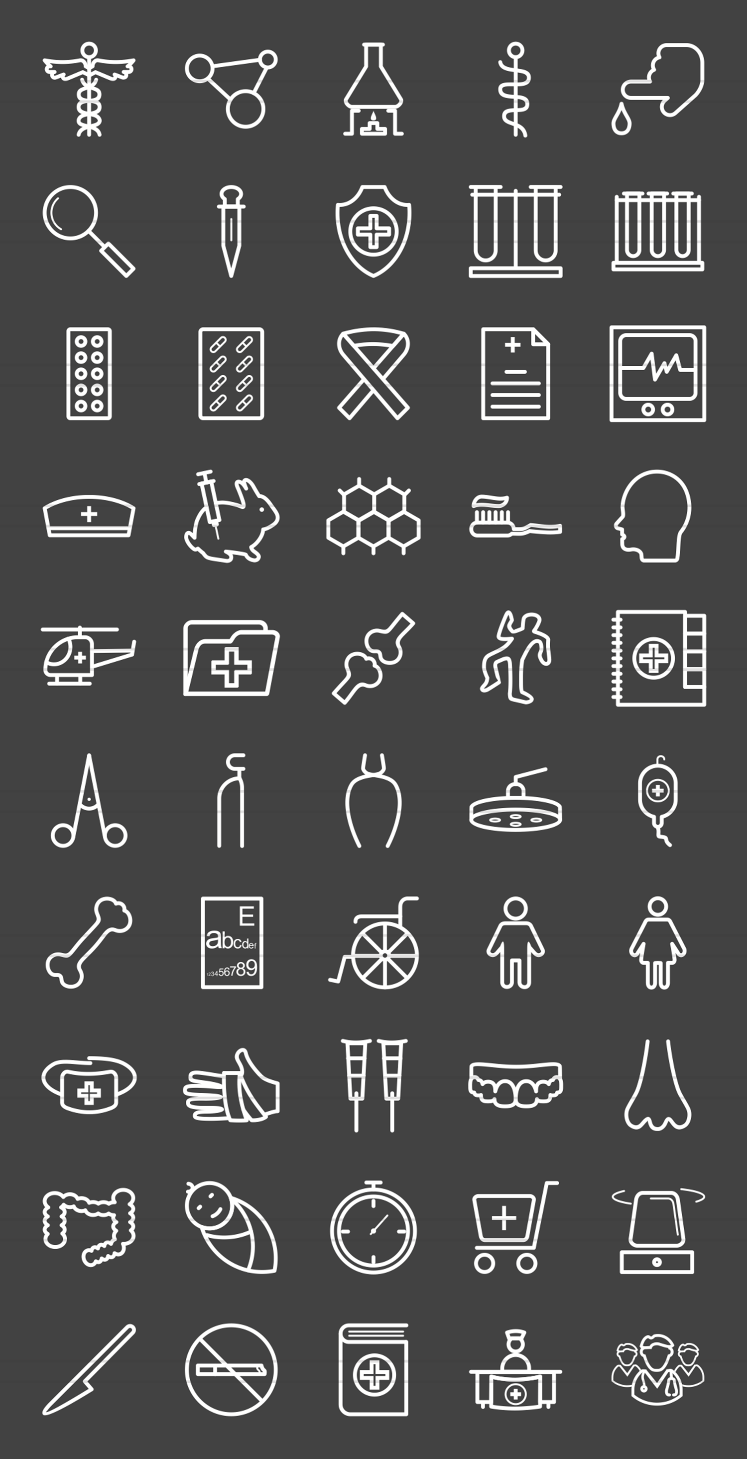 50 Healthcare Line Inverted Icons example image 2