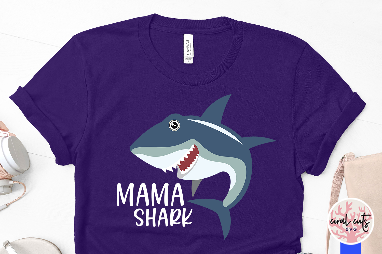 Mama shark - Mother SVG EPS DXF PNG Cutting File example image 3