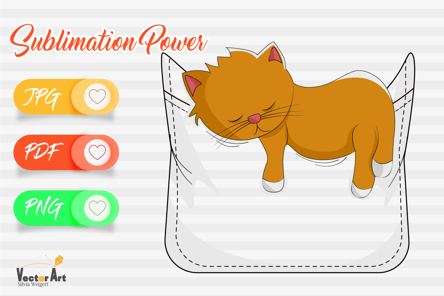 Fake Pocket with sleeping cat - Sublimation File for Crafter example image 1