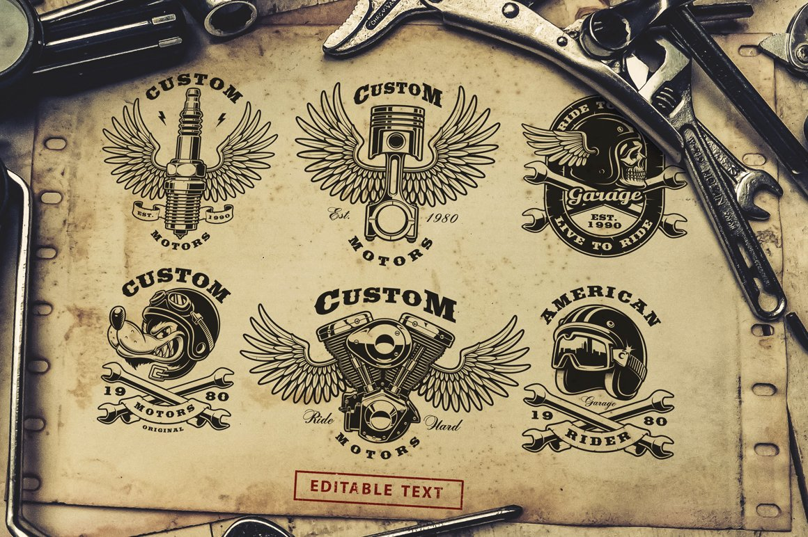 Motorcycle vector design set #1 example image 3