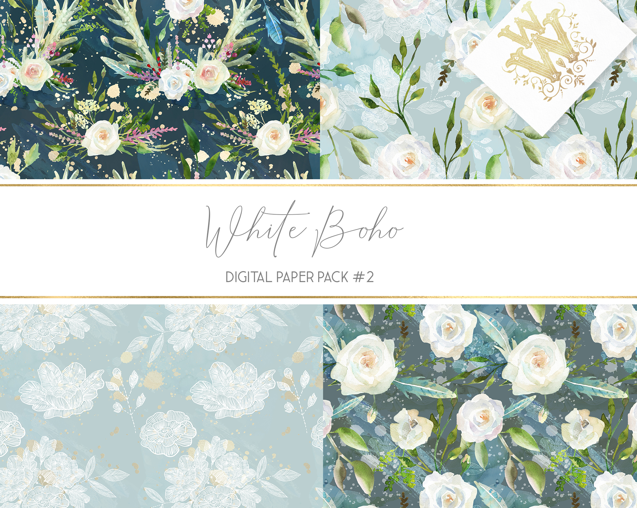 Boho chic digital paper pack, watercolor floral seamless example image 2