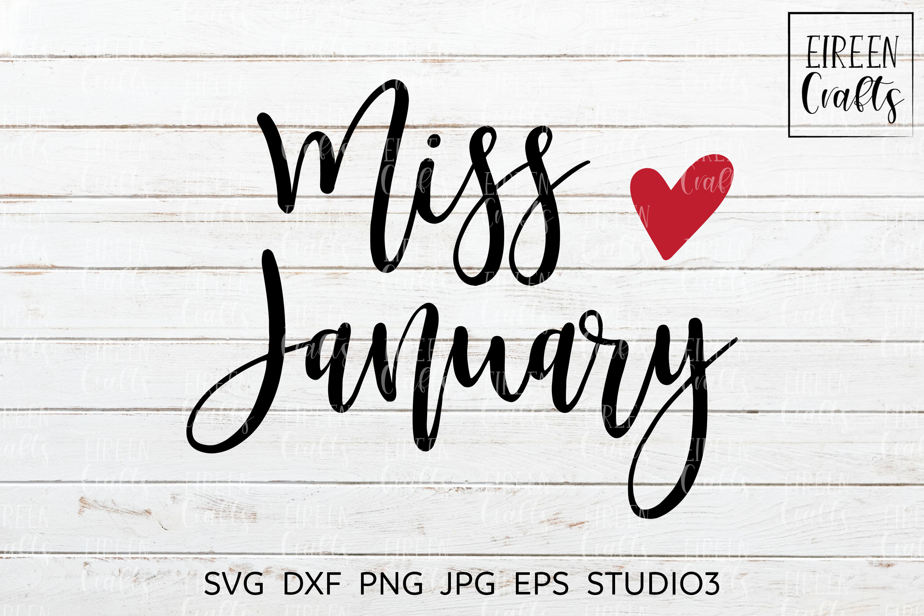 Miss January SVG - cut file for Cricut & Silhouette example image 1