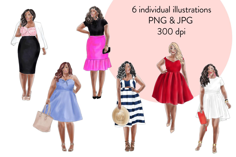 Fashion illustration clipart - Curvy Girls - Dark skin example image 4