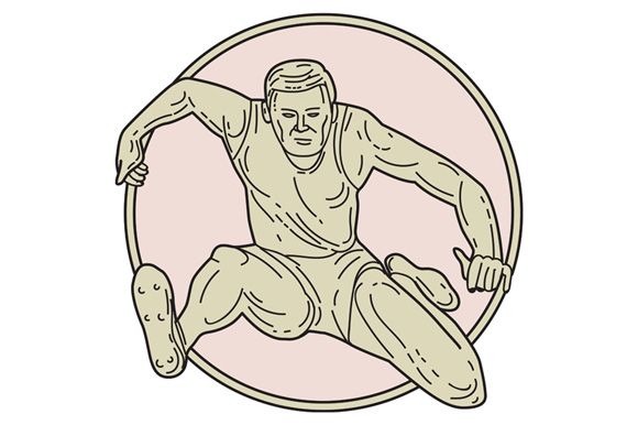 Track and Field Athlete Hurdle Circle Mono Line example image 1