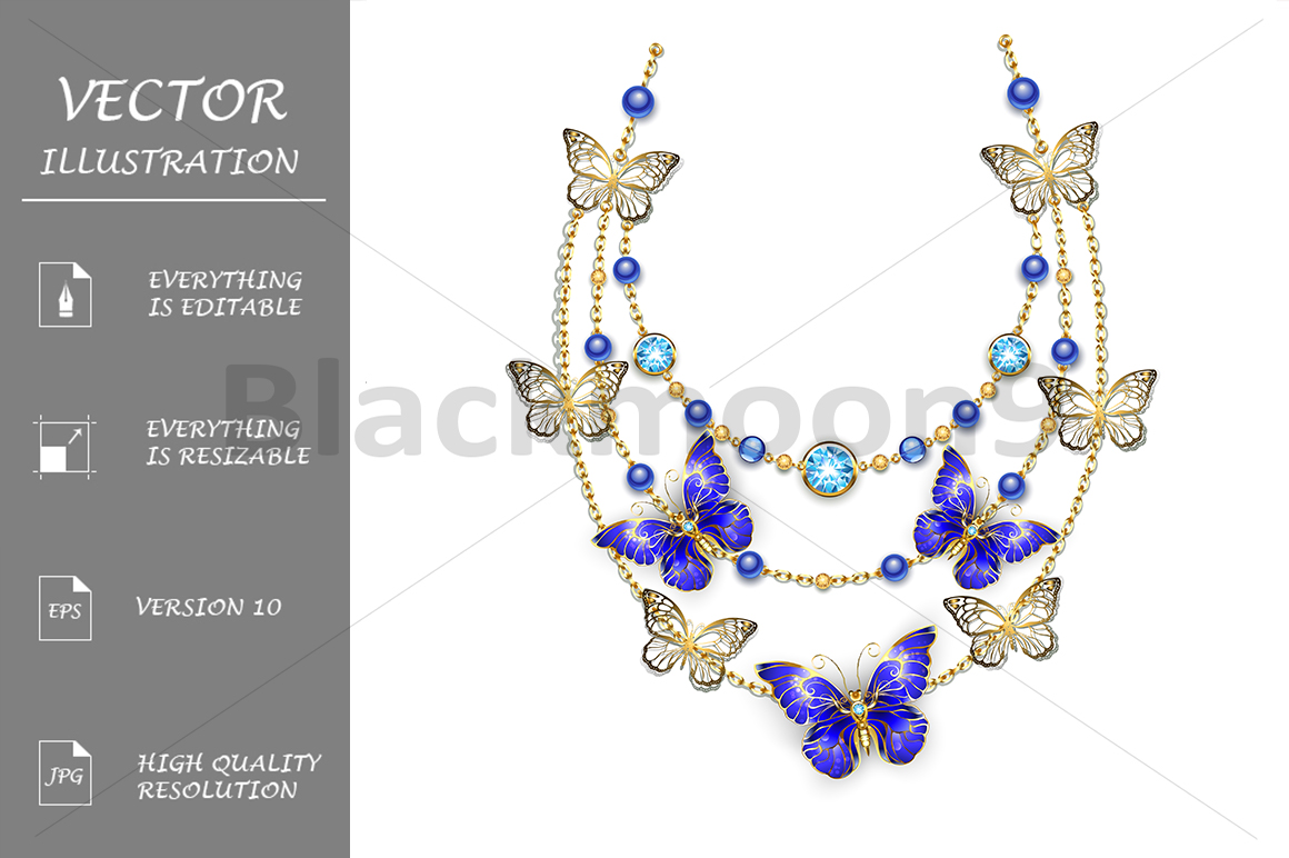 Necklace with Sapphire Butterflies example image 1