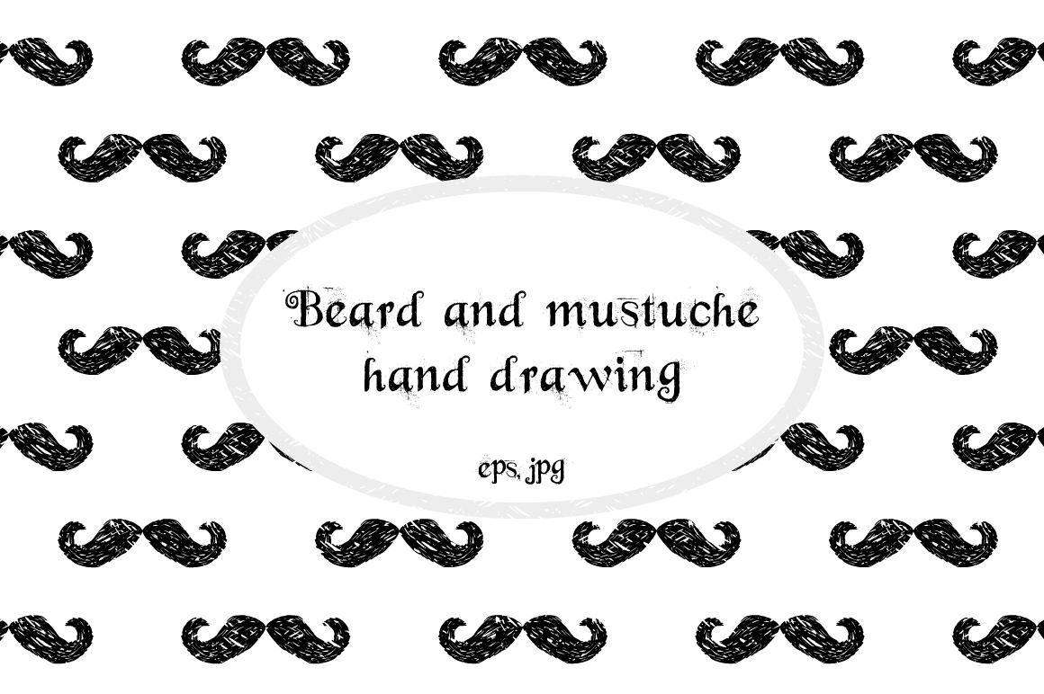 Hand drawn Beards and mustaches example image 1