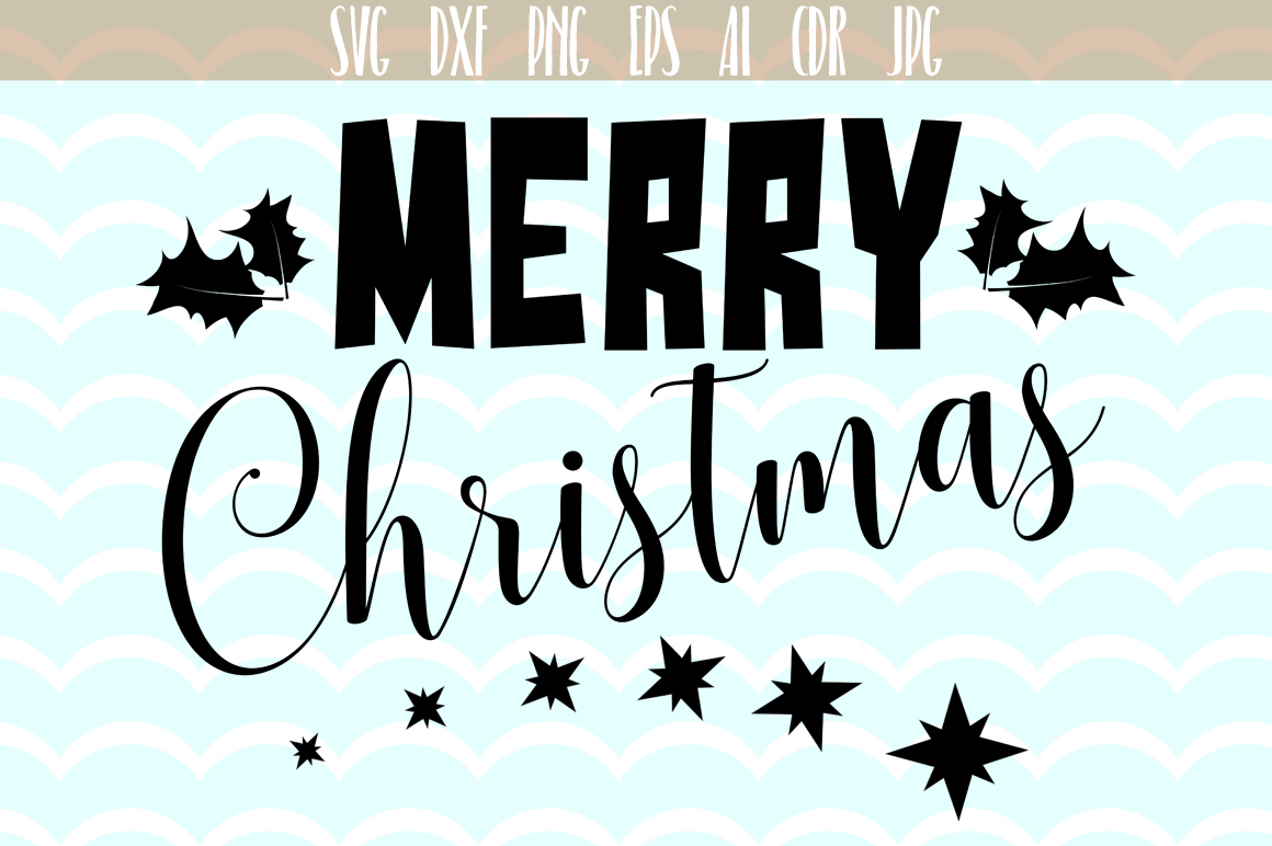 Christmas vector, Merry Christmas SVG - cutting files, Xmas Vector,  SVG, PNG, JPG, EPS, AI, DXF example image 1