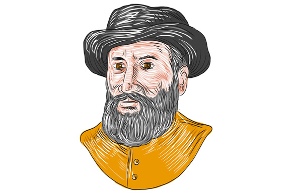 Ferdinand Magellan Bust Drawing example image 1