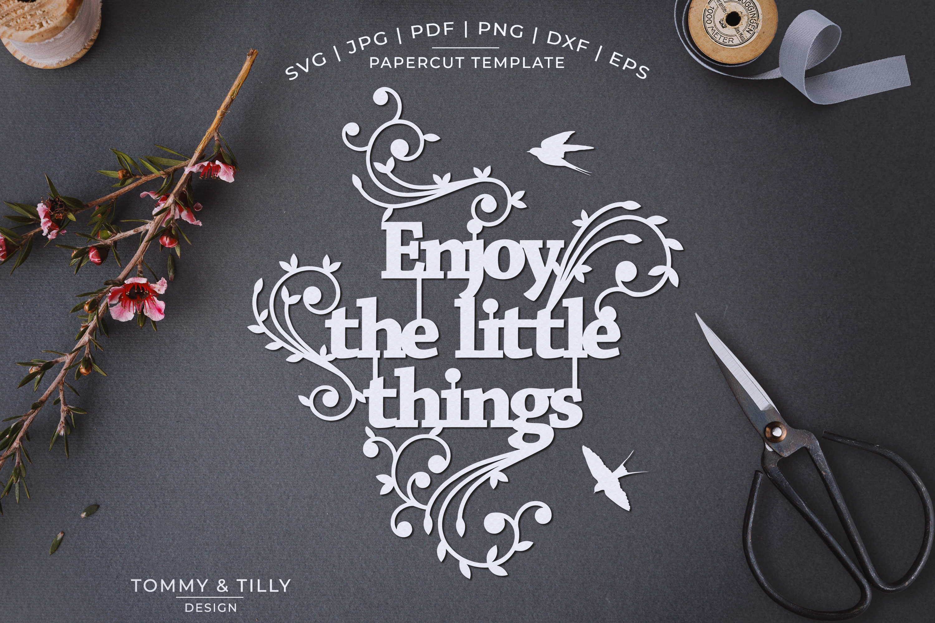 Enjoy the little things - Papercut SVG EPS DXF PNG PDF example image 1