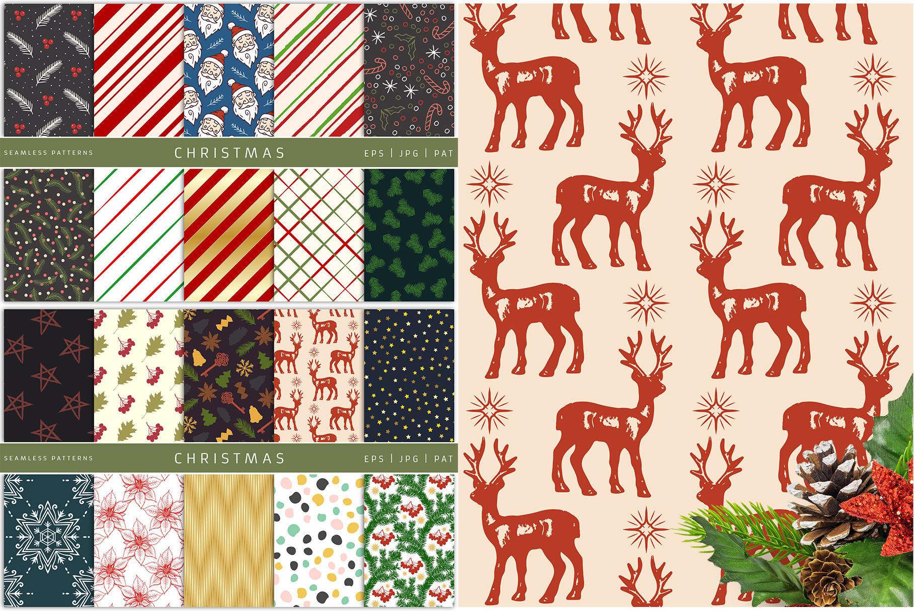 100 Seamless Patterns Vol.4 Christmas example image 10