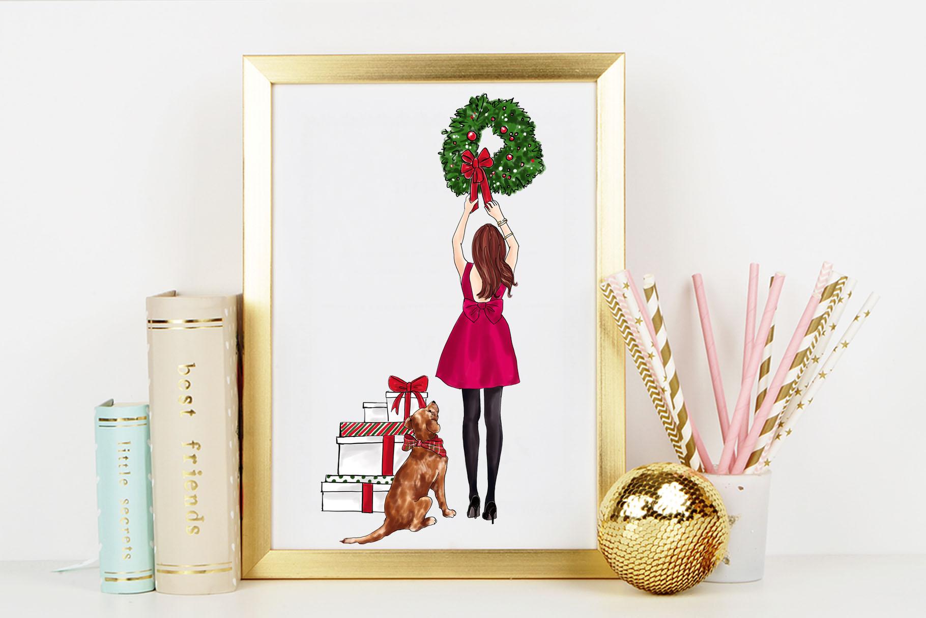 Fashion illustration - Christmas Girl 7 - Redhead example image 7