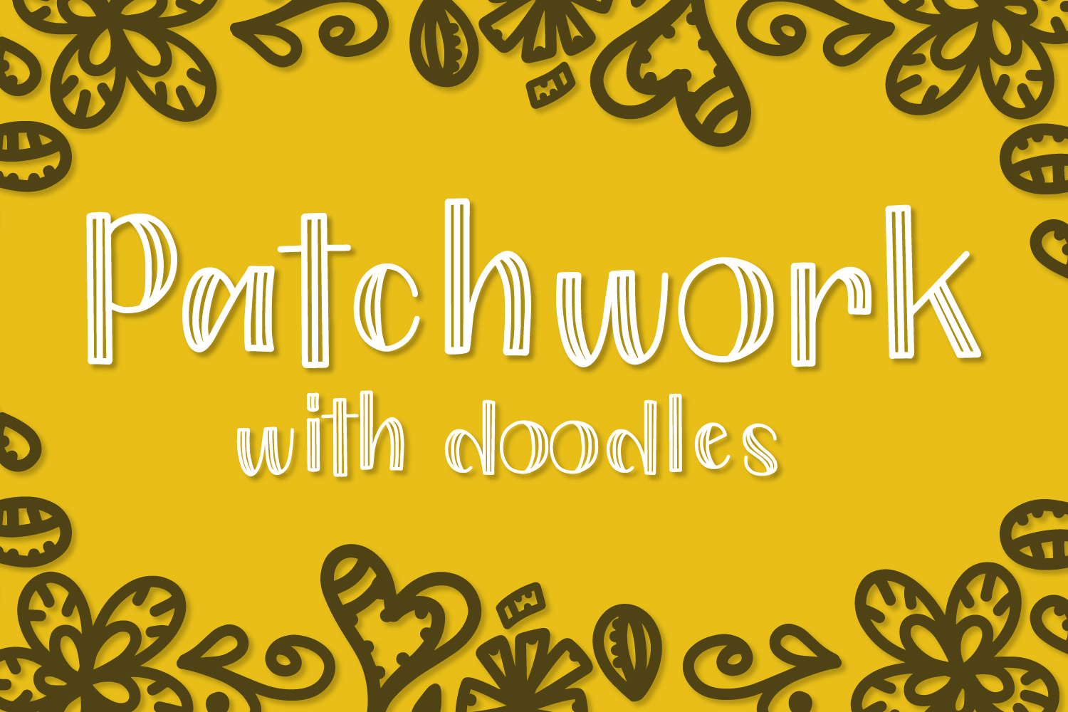 Patchwork - Double Inline With Doodles Font Duo example image 1
