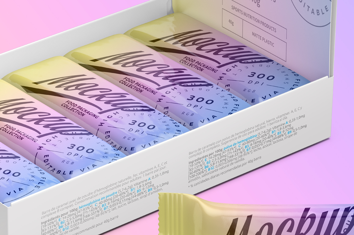 Mockup Snack Bars Box of 10x40g example image 6