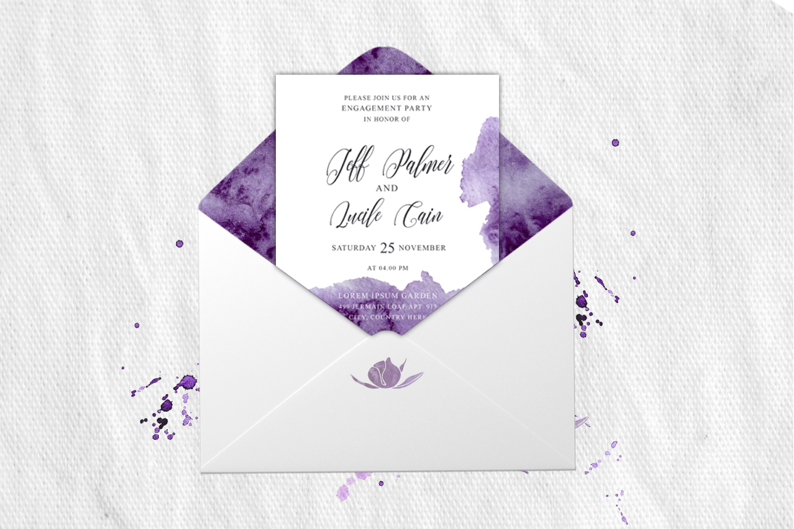 Ultra Violet Watercolor Wedding Invitation suite example image 3