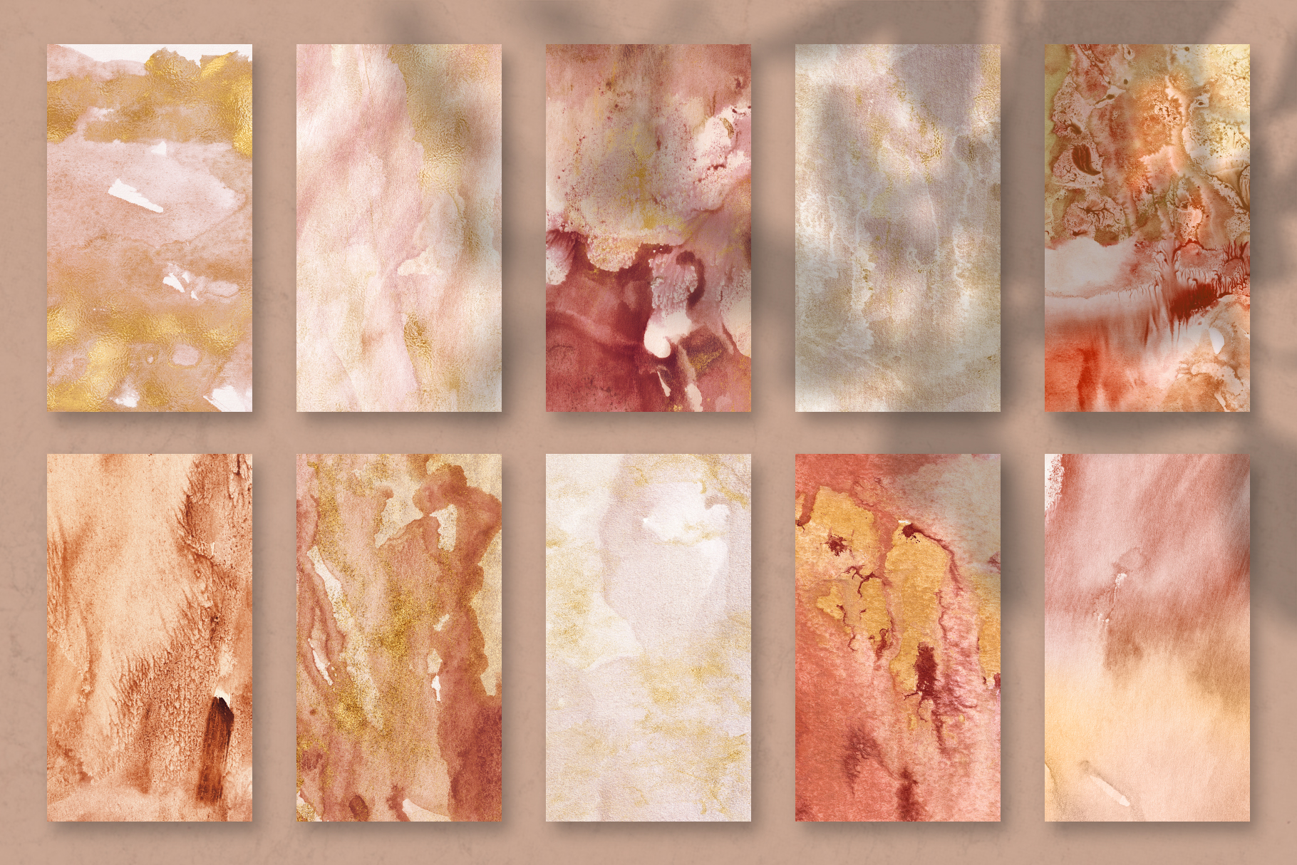 20 Seamless Watercolor Textures - Burnt Orange Backgrounds example image 15