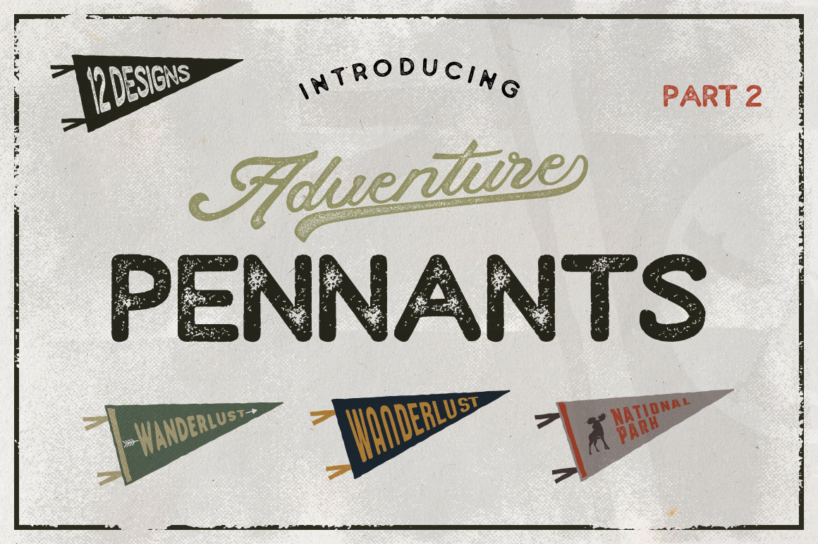 Vintage Pennants Set | Part 2 example image 1