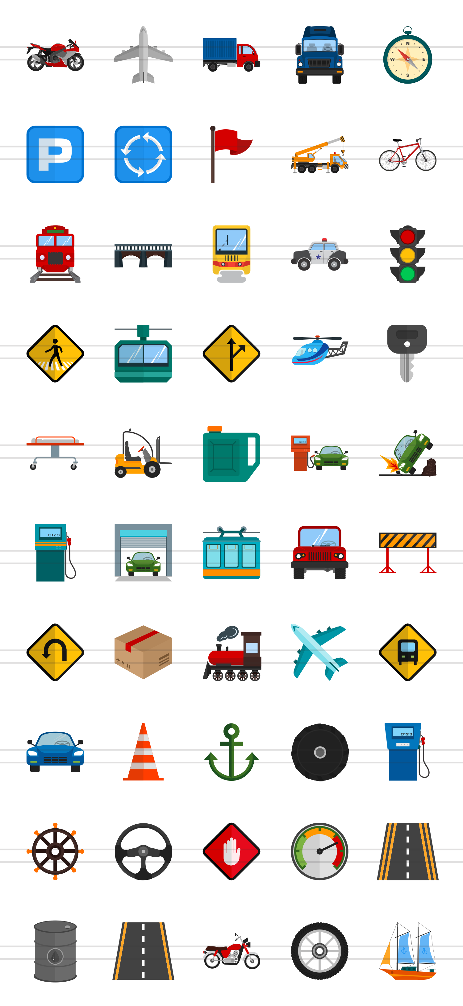 50 Transportation Flat Multicolor Icons example image 2