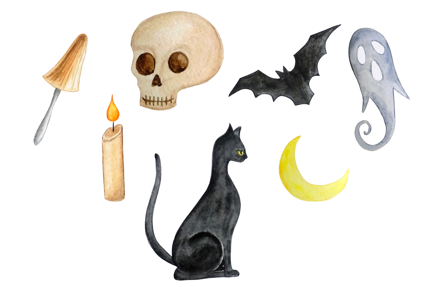 Halloween watercolor clipart example image 6
