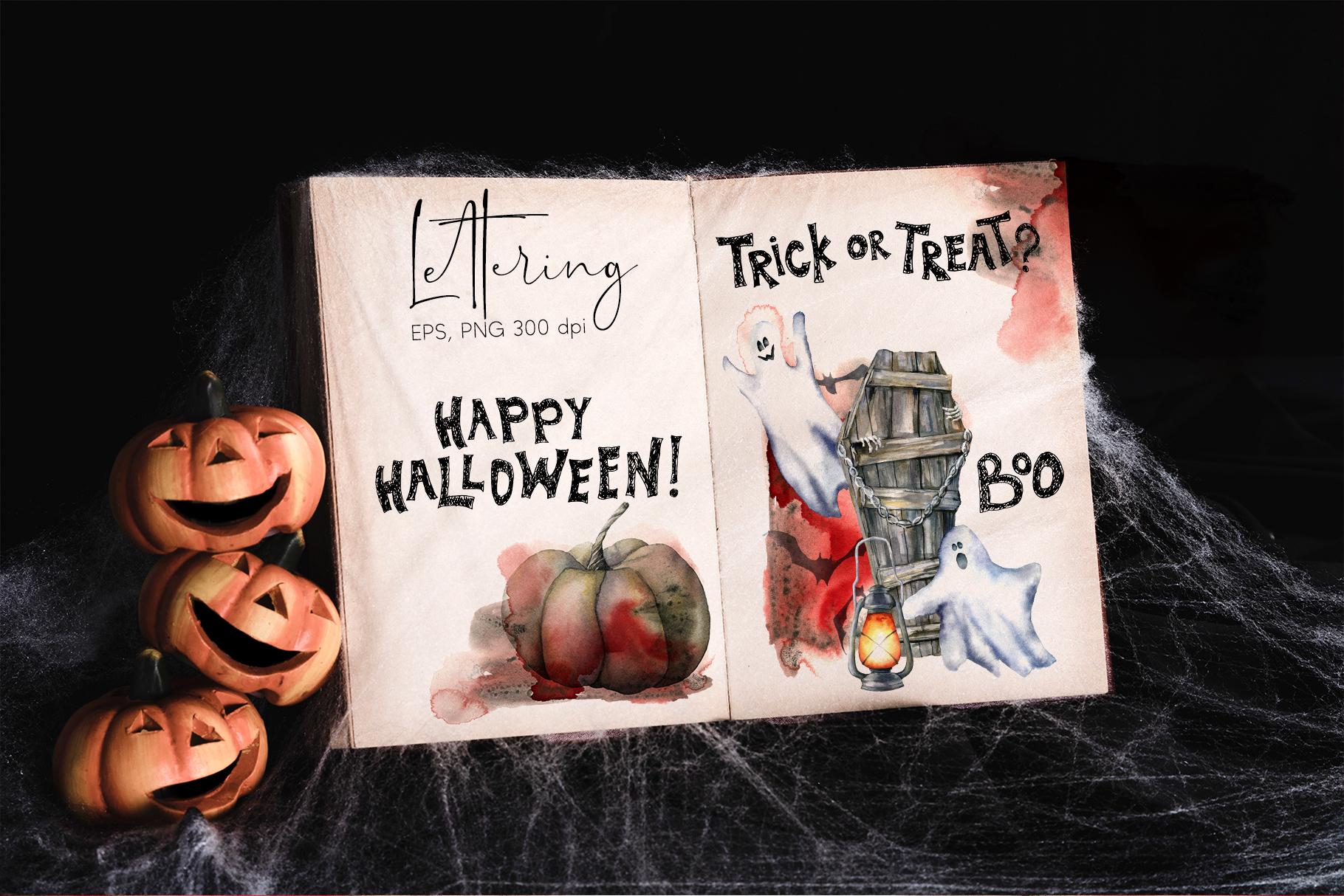 Halloween night. Watercolor clip art example image 10