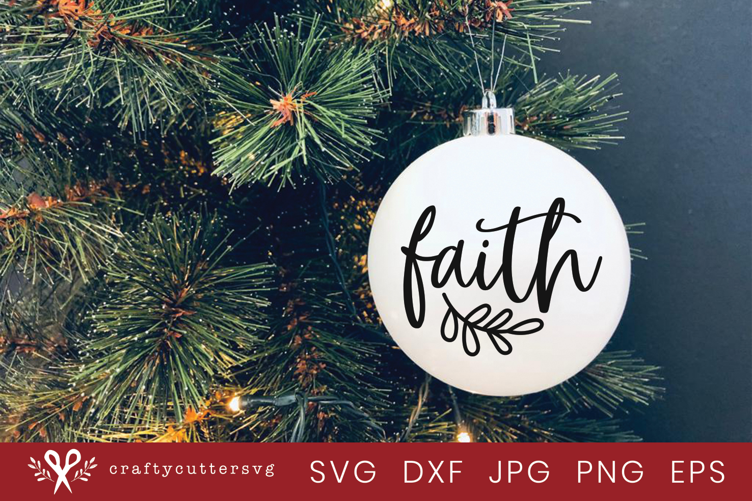 Christmas Ornament Faith Svg Cut File Bell Clipart example image 2
