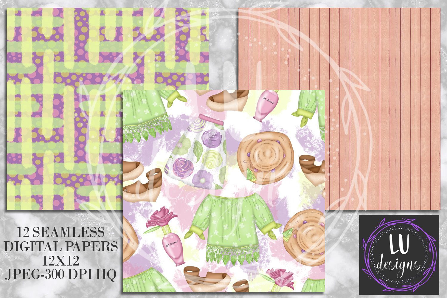 Spring Digital Papers, Spring Backgrounds, Garden Scrapbook example image 4