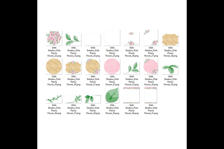 82 Romantic Pink Peony Clip Art Peony Border Bouquet Garden example image 9