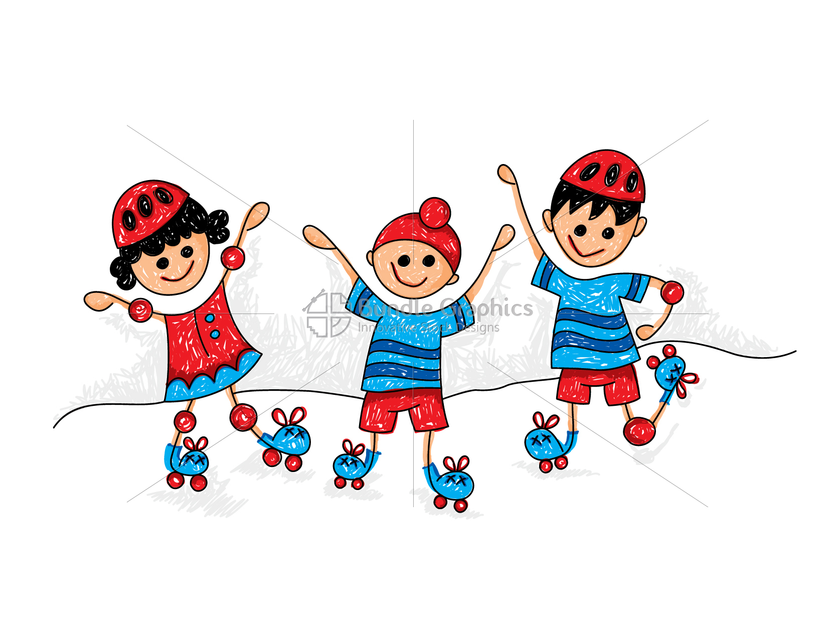Kids Roller Skating Graphical Illustration example image 1