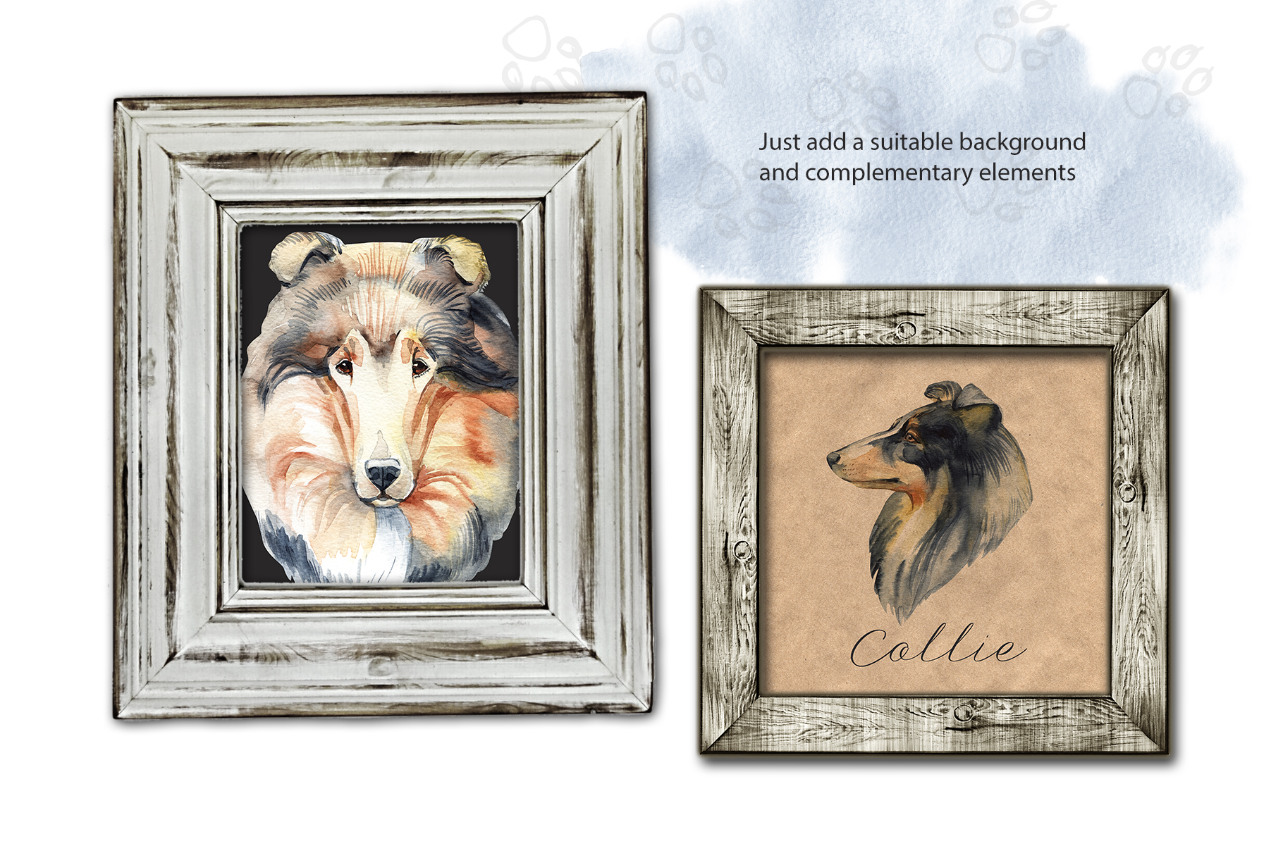 Watercolor dog - Collie example image 3