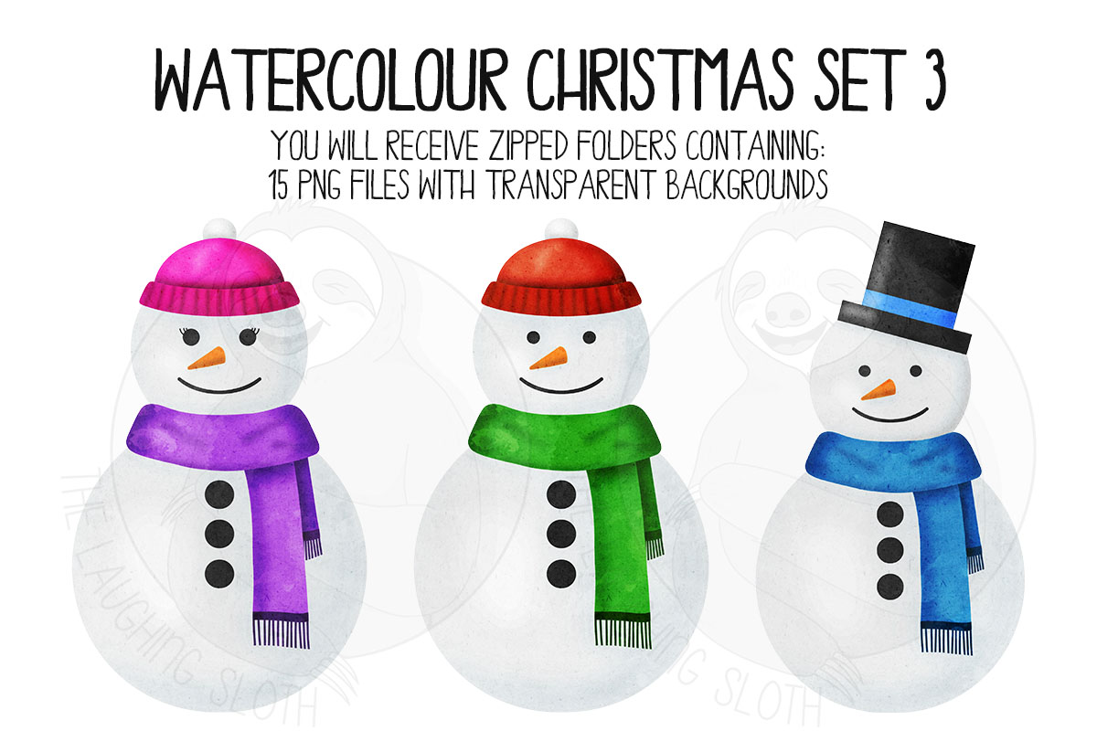 Watercolor Christmas Clipart Set 3 example image 4