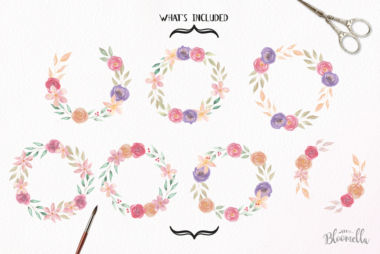 Floral 7 Wreath Watercolor Floral Softly Garlands Flowers example image 4