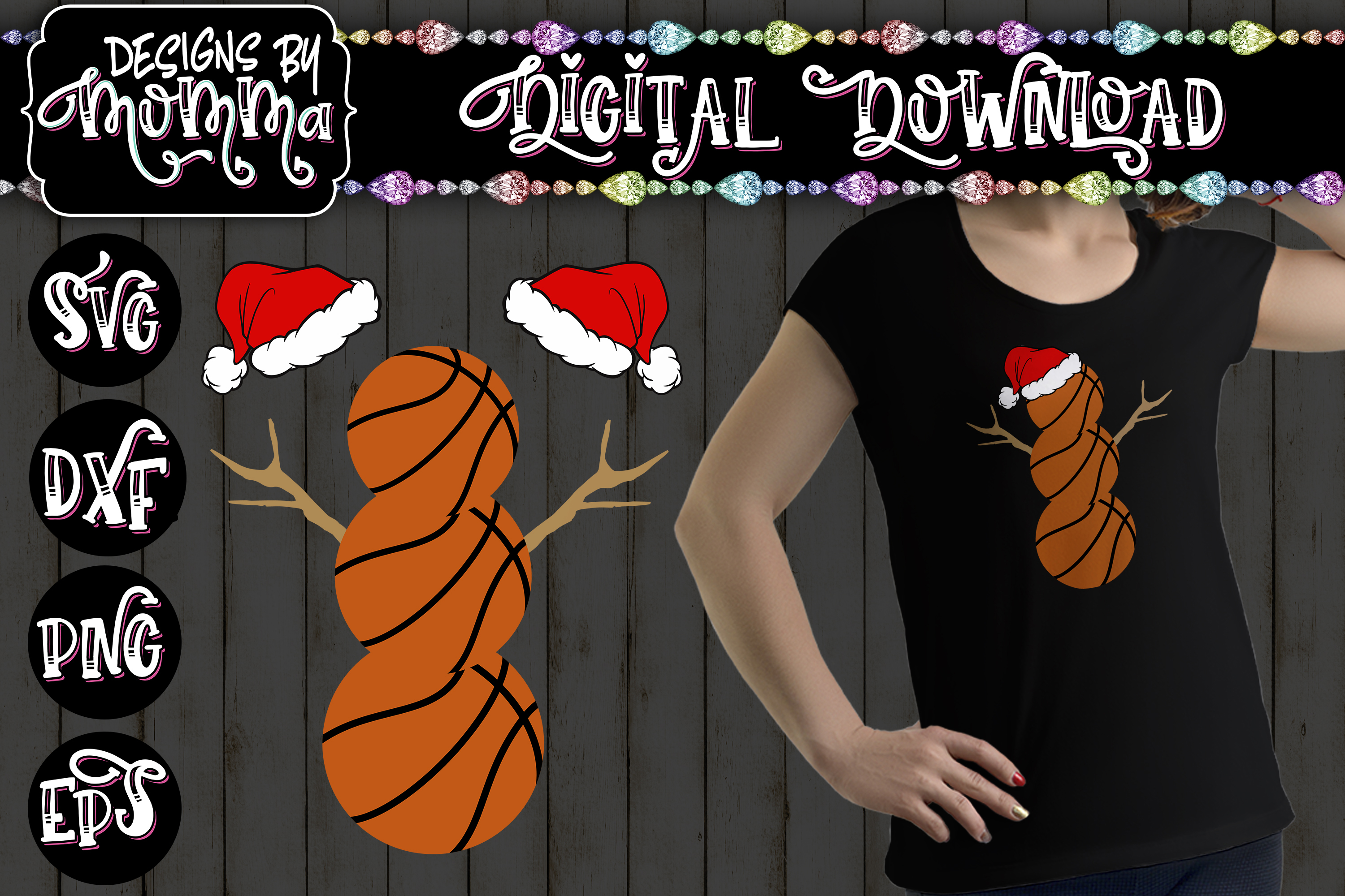Basketball Snowman SVG example image 1