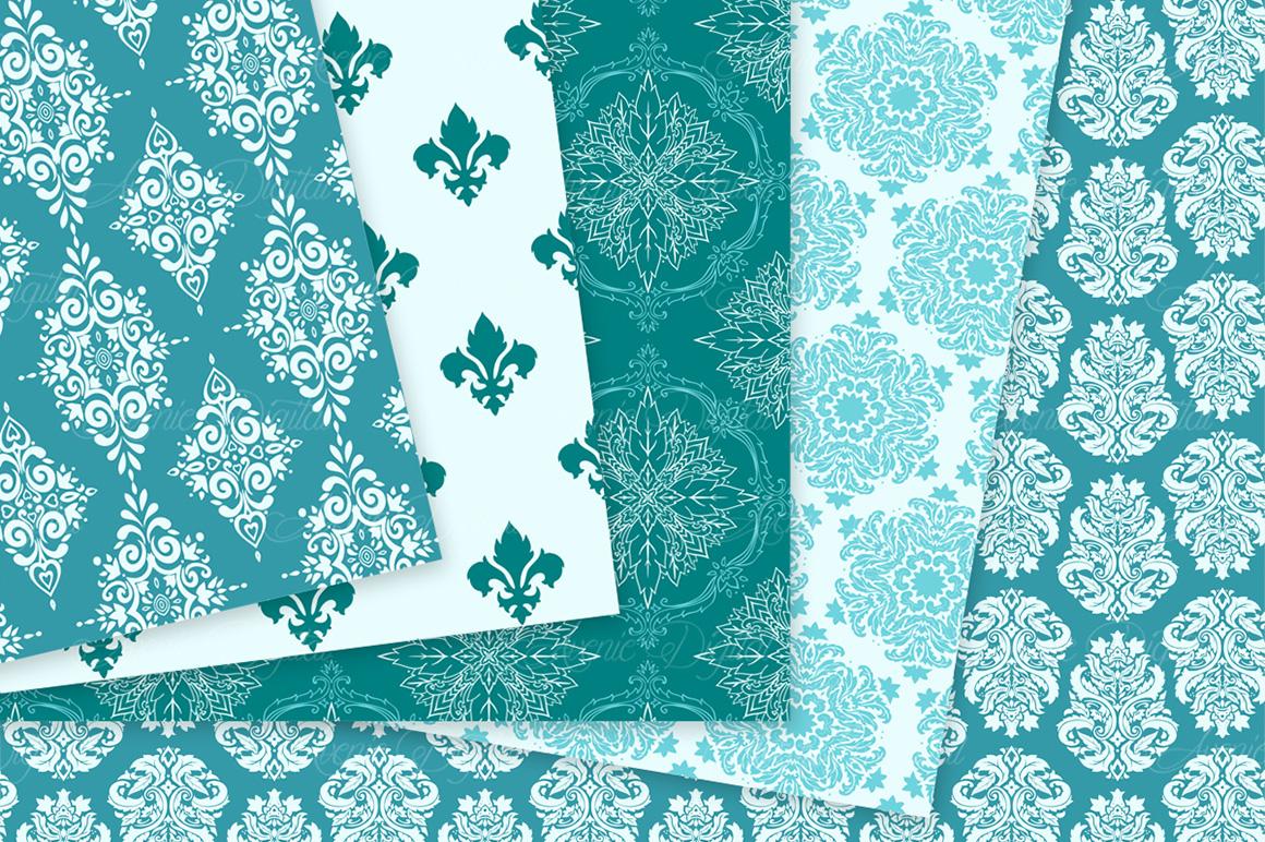 28 Teal Damask Patterns - Seamless Digital Papers Bundle example image 4