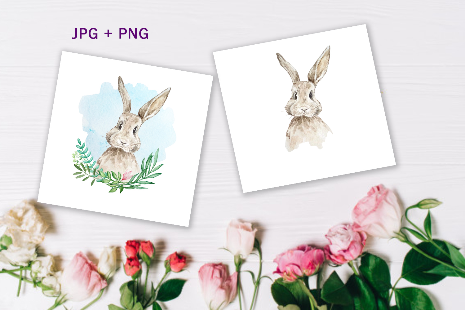 Watercolor Spring Rabbit Clipart Set example image 3